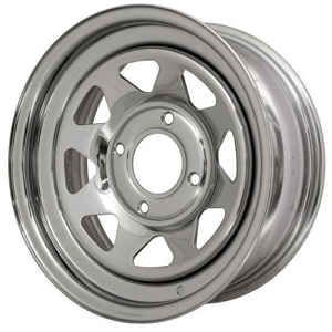 "Chrome 8 Spoke Wheel 4x130 15"" For Buggy Etc Choose Size"