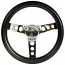Classic Black And Polished Steering Wheel Choose Size